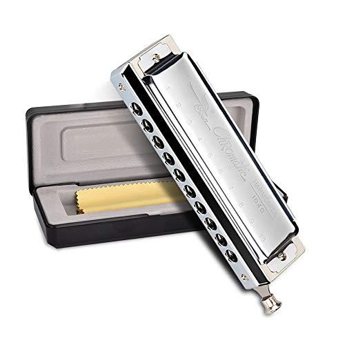 OTraki Chromatische Mundharmonika C Dur Blues Harp 10 Loch 40 Töne Silber Mundharmonikas Harmonika mit Vorzüglicher Kasten und Reinigungstuch