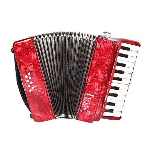 ammoon 22-Key 8 Bass Piano Akkordeon mit Riemchen Handschuhe Reinigungstuch Pädagogisches Musikinstrument für Studenten Anfänger Childern