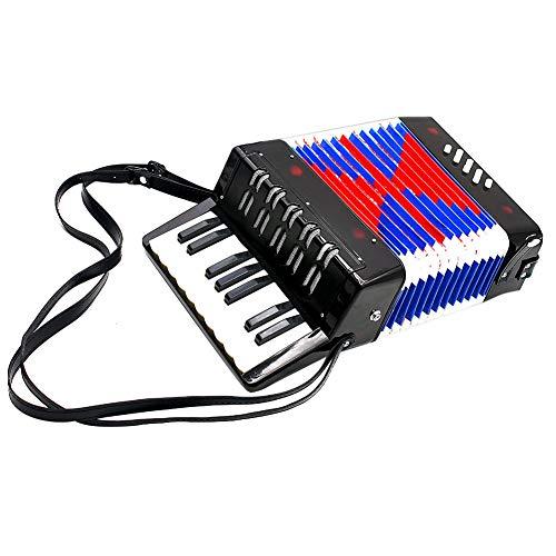 Dilwe Akkordeon für Kinder, 17 Key 8 Bass Mini Akkordeon pädagogische Musik Spielzeug Geburtstagsgeschenk(Schwarz)